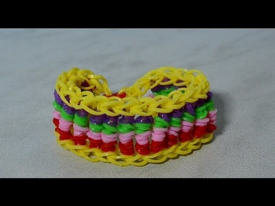 Rainbow Loom Candy Twist Bracelet With Two Forks Without Loom DIY