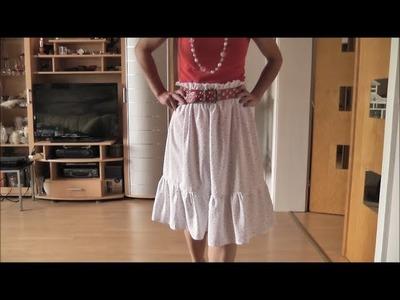 Faltenrock mit Rüsche, Rüschenrock selber nähen. Mode - Show im Video inklusive :)))