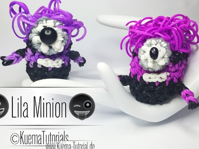 Rainbow Loom Lila  Minion Anhänger.Keychains Step by Step Tutorial