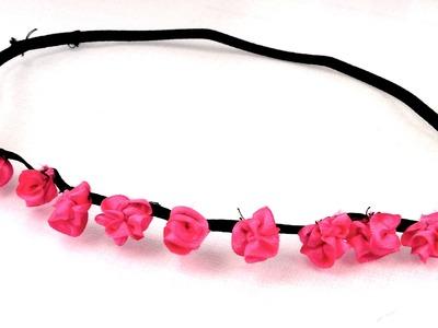 DIY Blumenkranz, Blumenkette, Blumenhaarband, Blumenhaargummi selber machen Anleitung