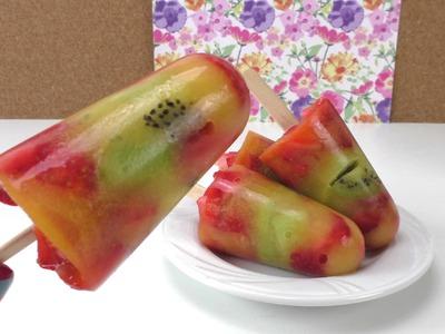 Eis mit Kiwi, Erdbeeren und O-Saft - DIY Früchte Eis - Eis am Stiel - lecker, einfach und gesund