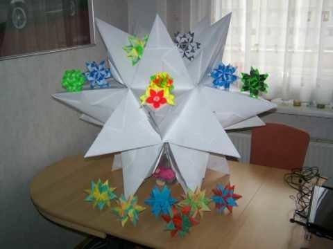 Bascetta Stern - Origami - Weihnachtsstern - Video - inkl. Anleitung - 3D - 80cm hoch