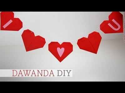 DaWanda DIY: Wimpelkette mit Origamiherzen