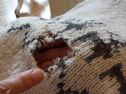 Stopfen 6: Maschenstopfen eines offenen Lochs im Pullover