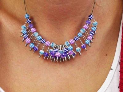 Statement Kette selber machen | Tolle Kette aus bunten Perlen & Sicherheitsnadeln | DIY Schmuck