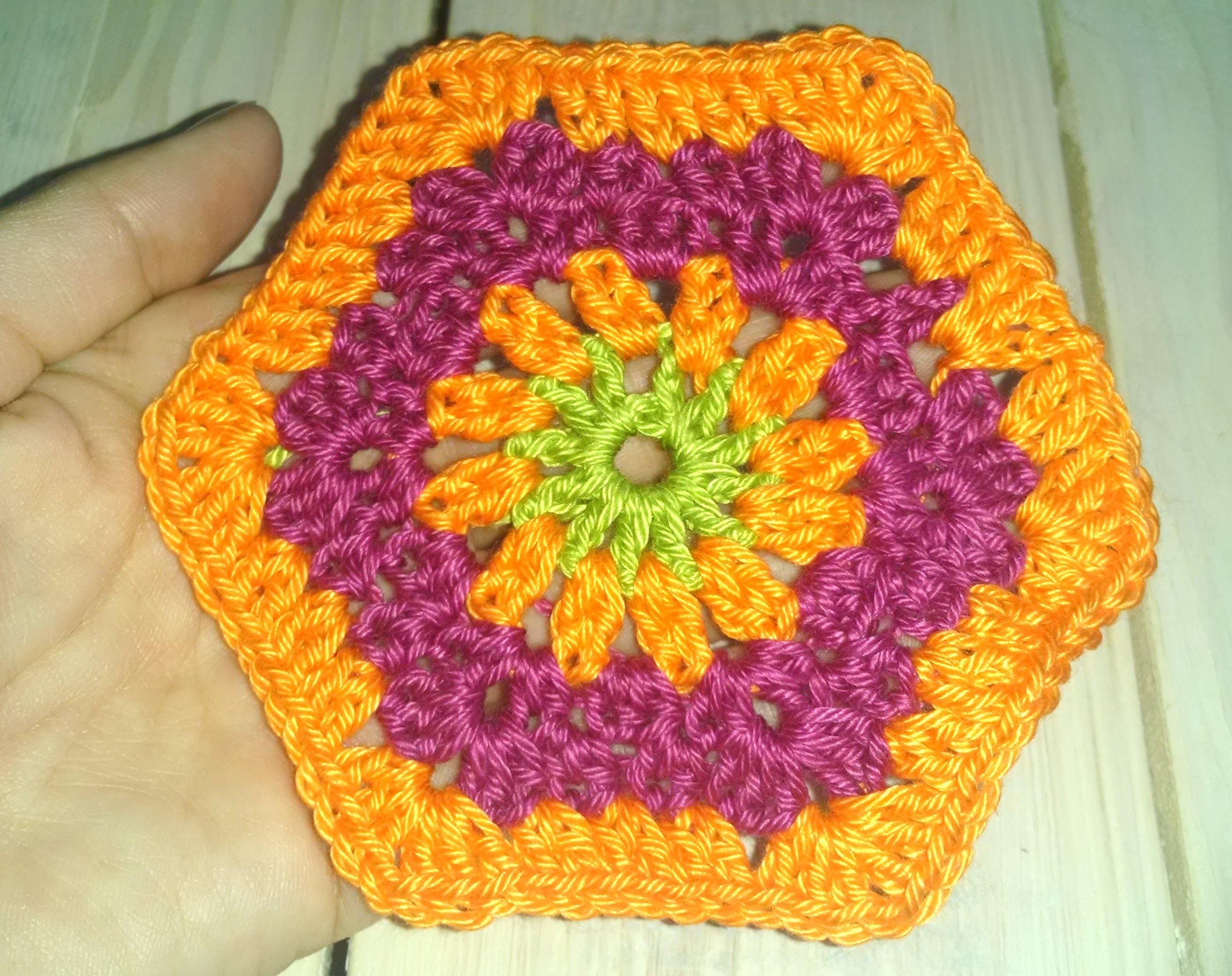 Hexagon Granny Square häkeln, sechseckig, für Anfänger