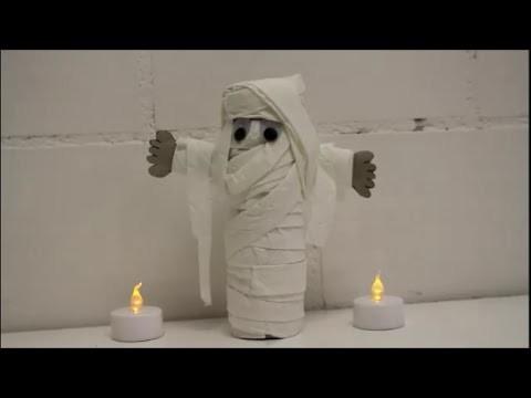 DIY: Halloween Special: Mumie aus Klopapierrolle basteln WC-Rolle + WC-Papier *Kinderbasteln