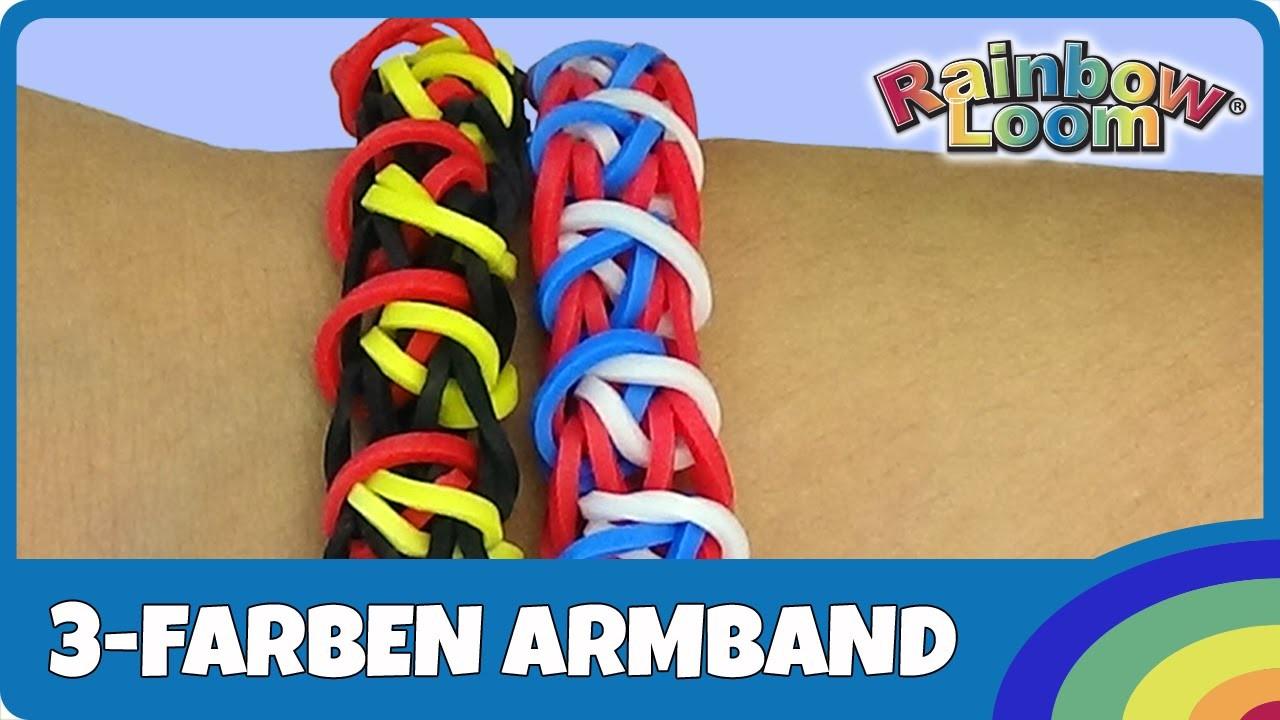 Rainbow Loom 3-Farben Fan-Armband - deutsche Anleitung