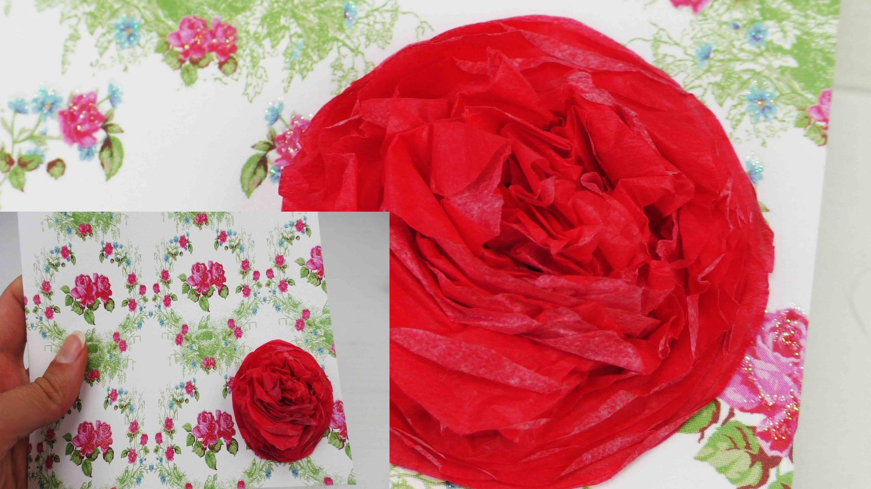 DIY Rose aus Seidenpapier selber machen | Als Geschenk oder Deko | Geburtstags Karte