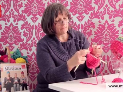 Stricken lernen mit den Omas - DIY Beanie Mütze für Anfänger 3.7: Rechte Maschen stricken
