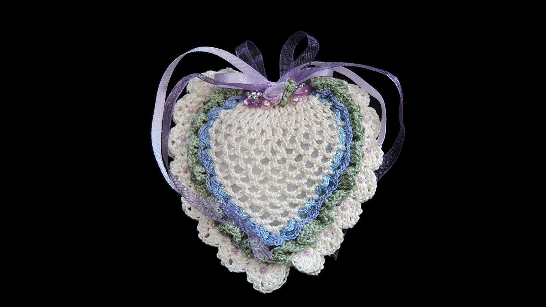 Lavendel-herz-kissen, CROCHET HÄKELN