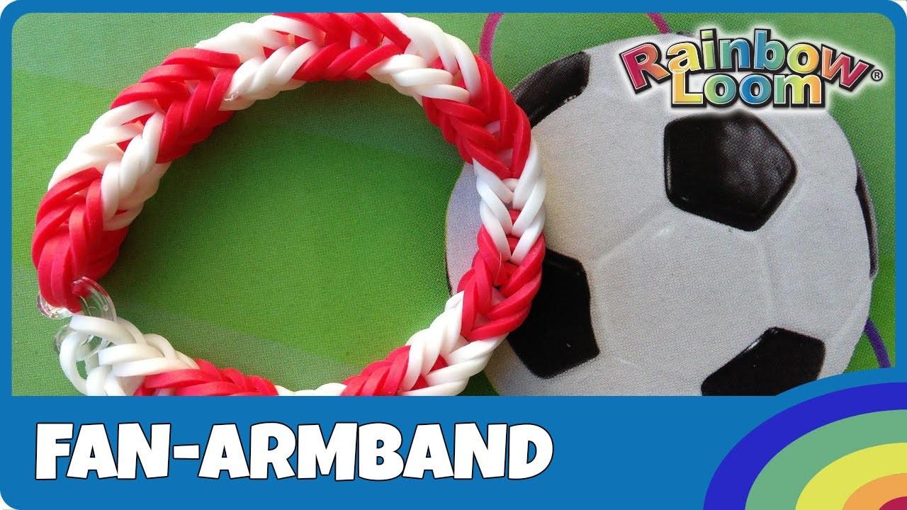 Rainbow Loom Fussball Fan-Armband - deutsche Anleitung