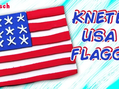 German DIY Einfach: How To Play Doh US Flag | Knete USA Flagge Deutsch