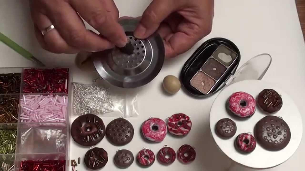 (Tuto Fimo) Donuts ,süße Kekse ,ein Sieb für die Struktur, Cookies Polymer Clay