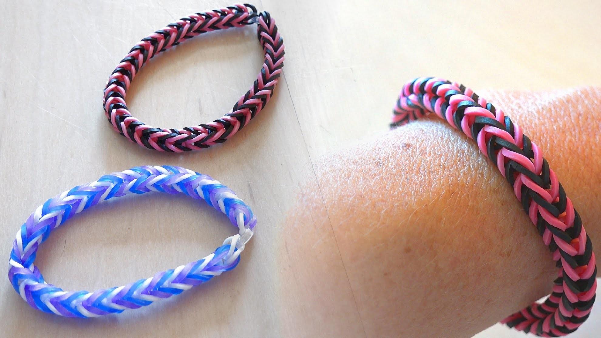 Einfaches Rainbow Loom Gummi Armband - leicht mit Kindern zu basteln