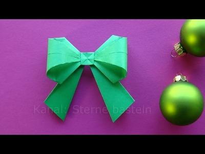 Origami Weihnachten Basteln Ideen: Schleife falten - DIY Weihnachtsdeko