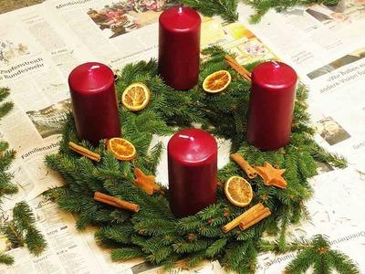 DIY Adventskranz | Kranz mit Tannengrün selber machen & dekorieren | Weihnachten, Kerzen & Sterne