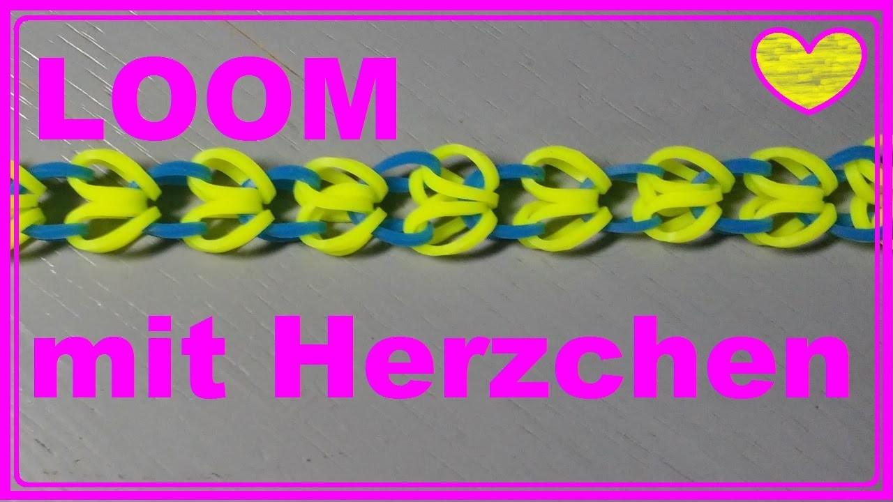 Herzchen Loom Armband mit Rainbow Loom