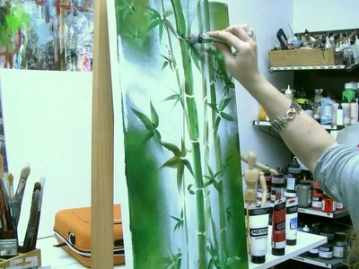Acrylmalen: Malen lernen, Anleitung zum Bambus. Acrylic painting Tutorial Demo, bamboo painting