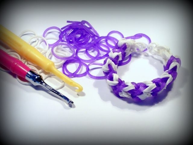 Loom Bands ohne Rainbow Loom deutsch - Armband mit Hook