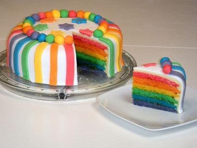 Rainbow Cake.Rainbowcake.Regenbogenkuchen (mit weißer Schokoladen-Ganache und Rollfondant)