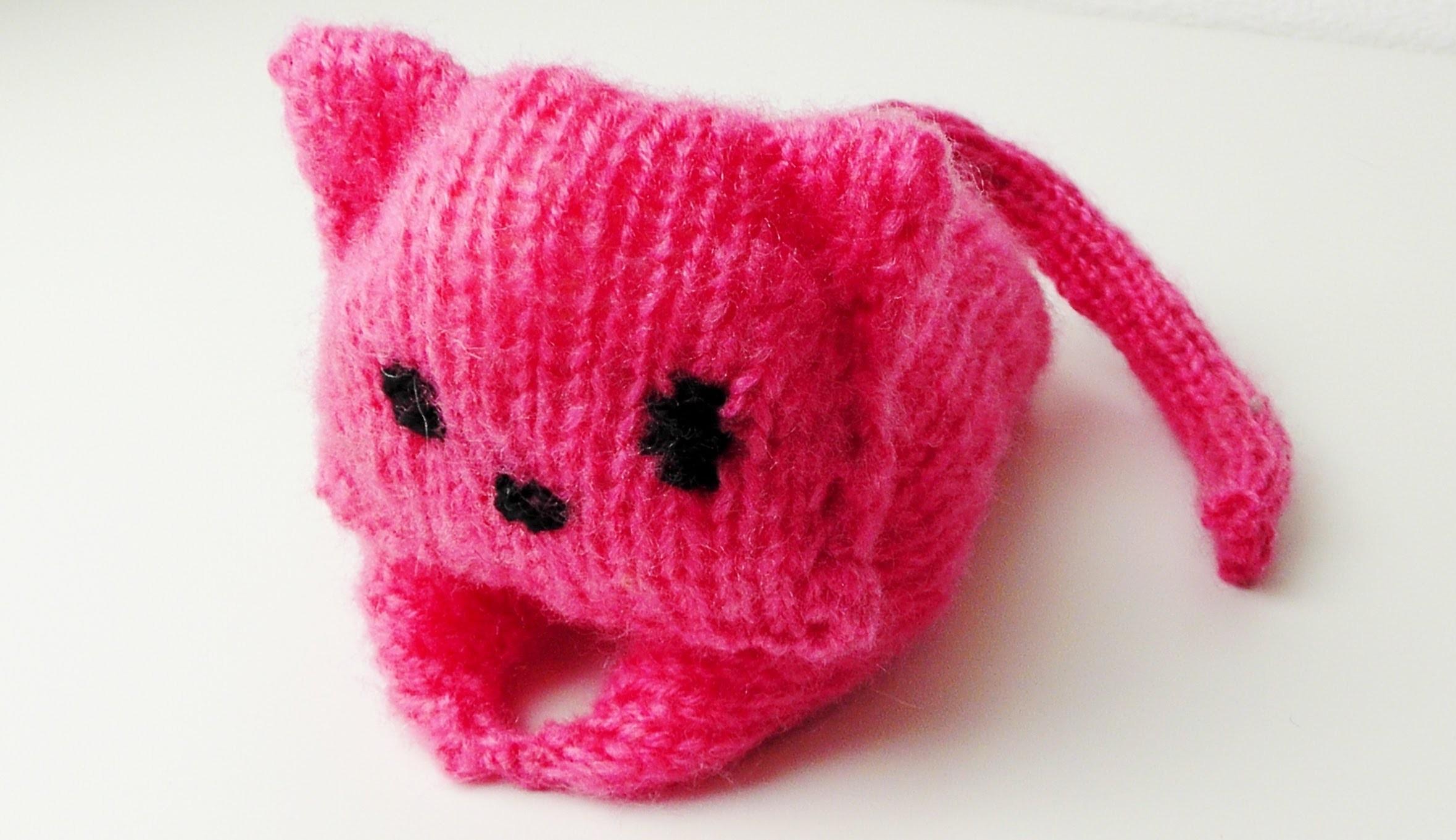 Amigurumi Katze stricken lernen für Linkshänder
