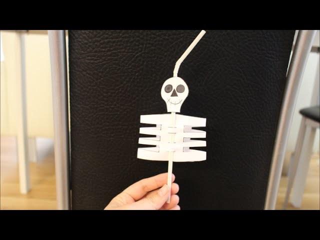 DIY Halloween Special Strohhalm Skelett basteln *für Kinder*