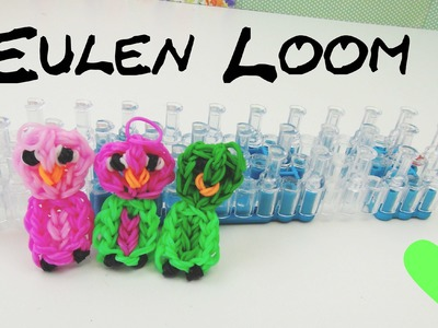 Loom Bands Eule auf deutsch m Loom Board selber machen | How To make a rainbow loom owl charm