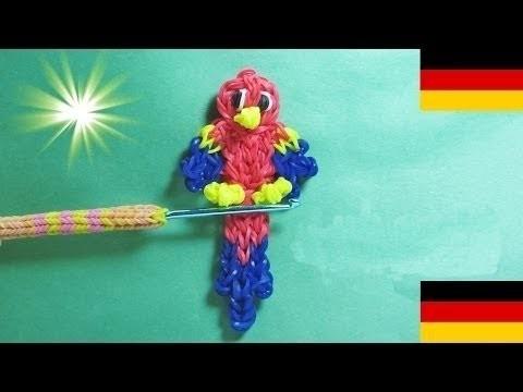 Loom Bandz Anleitung Deutsch Papagei Tiere, Rainbow Loom Deutsch Loom Bands