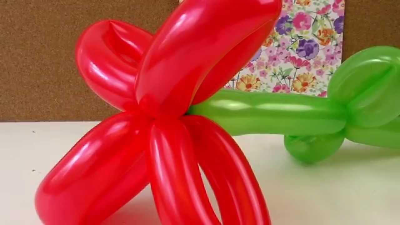 Blume aus Luftballons formen - Luftballon aufpusten und Blümchen machen - Modellierballon