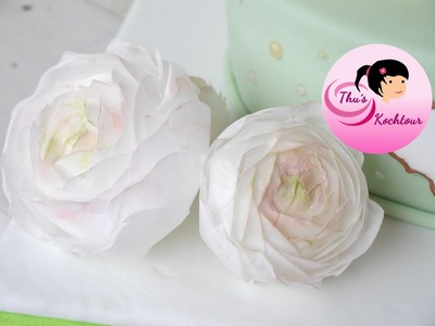 How to make buttercup flowers with wafer paper. Ranunkel-Tutorial aus Esspapier