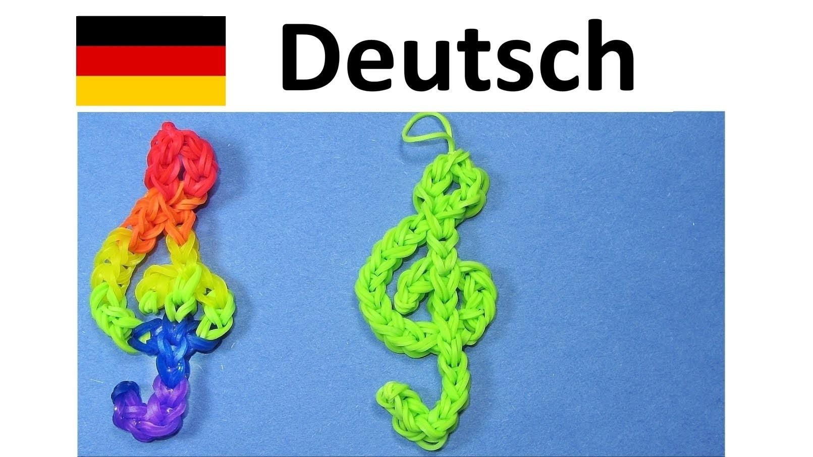 Loom Bandz Anleitung Deutsch Violinschlüssel  ( Rainbow Loom    Loom Bands Deutsch)