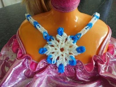 Schneeflocke Snowflake Halskette Collier Kette Geschenk zum Muttertag Loom Bands Anleitung