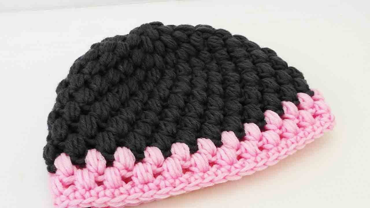 Mütze häkeln Anleitung - Puff Stich Mütze einfach selber machen