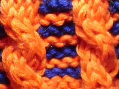 Zopf mit zwei Farben stricken - Zopfmuster - Strickmuster