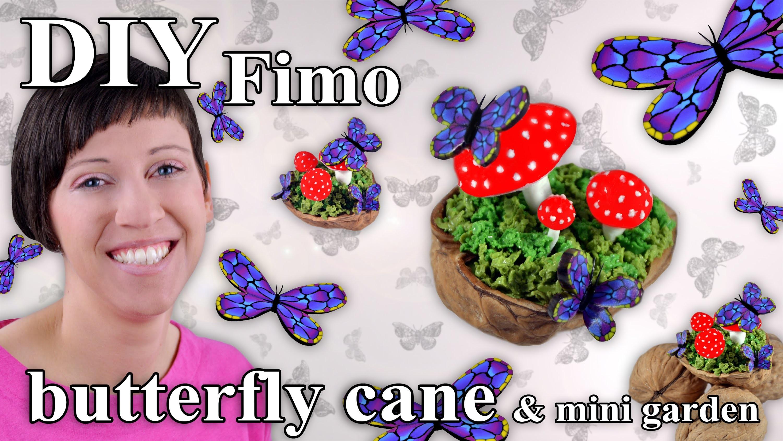 FIMO Schmetterling (Cane): Polymer Clay Butterfly Garden - Tutorial [HD.DE] (EN-Sub)