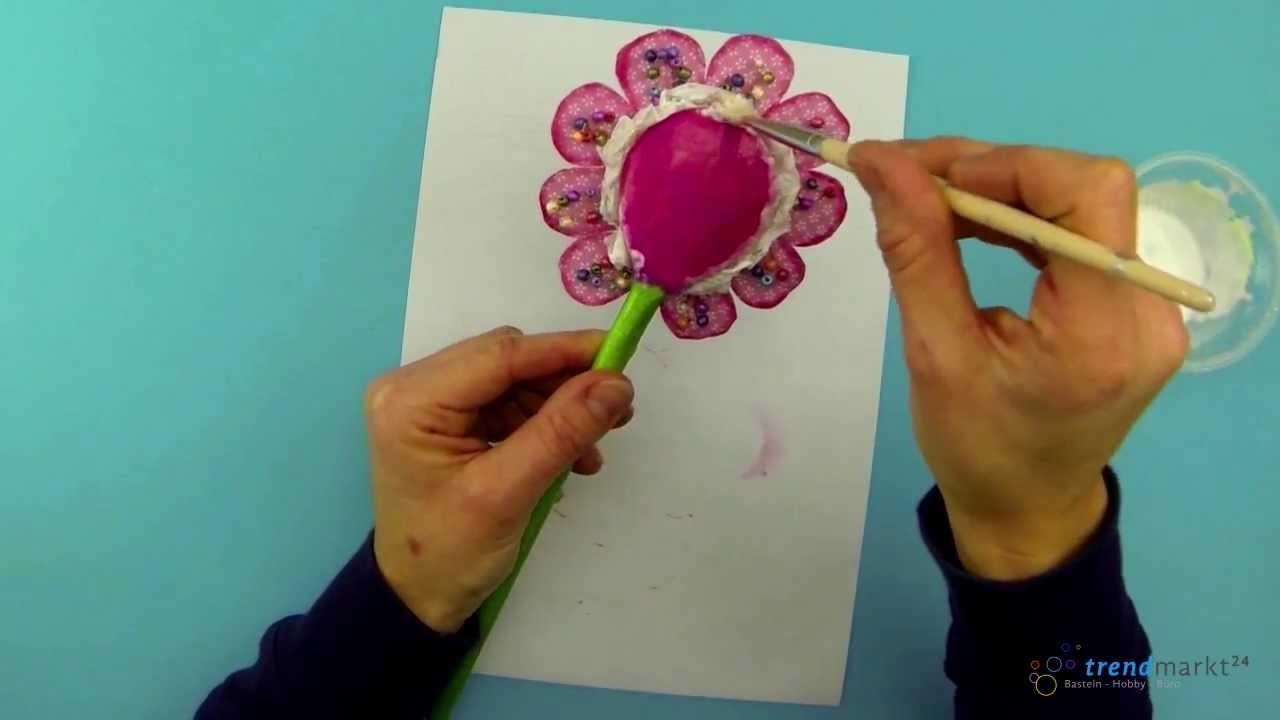 Bastelideen Frühling - Anleitung Blume basteln als Dekoblume