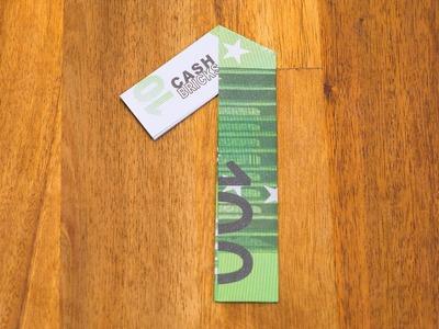 Geldschein falten Zahl 1 - Origami Geldgeschenk Tutorial - Nummer 1.10