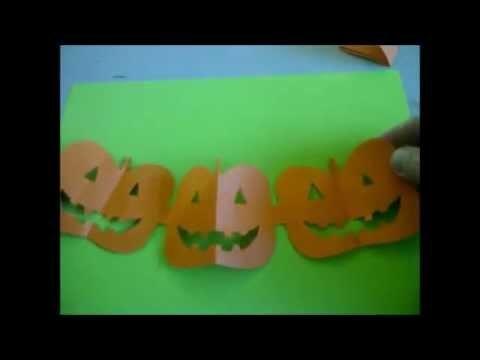 Halloween-Deko.  Eine Kürbis-Girlande für eine Halloween-Party basteln. Sehr einfach