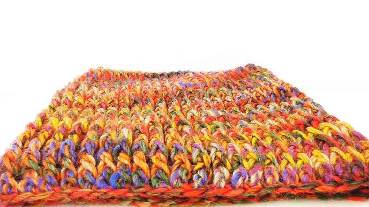 Single Loop Häkeln - Anleitung für einen bunten Schal mit Stäbchen