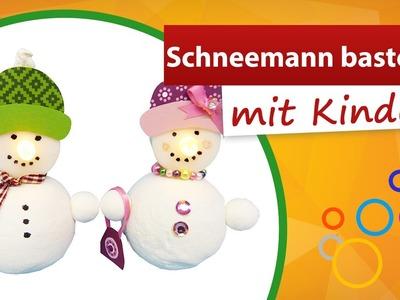 ⁂ Schneemann basteln mit Kindern ⁂ Teelicht Dekoration - trendmarkt24