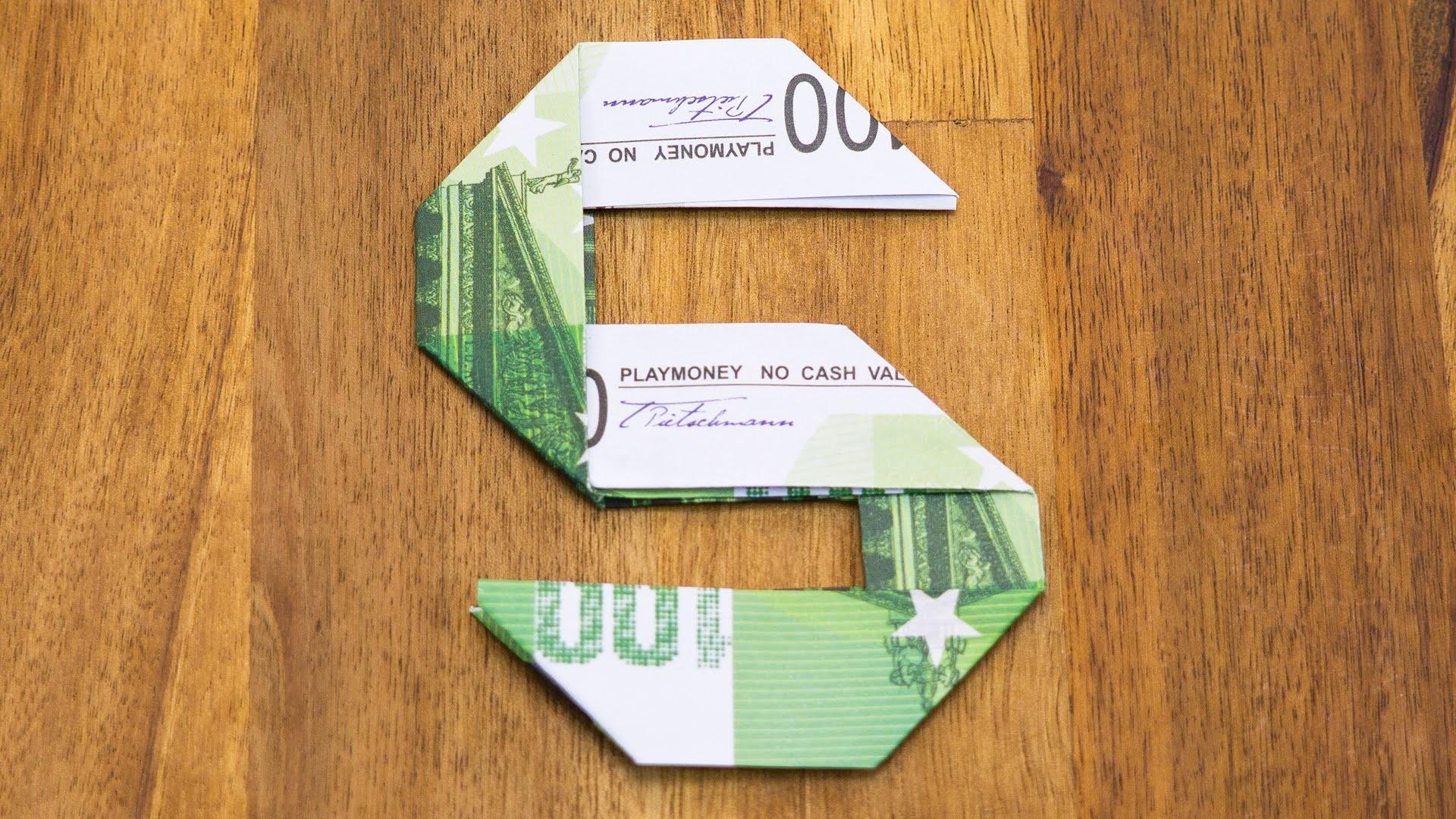 Geldschein falten Zahl 5, Origami Geldgeschenk Tutorial, Nummer 5.10