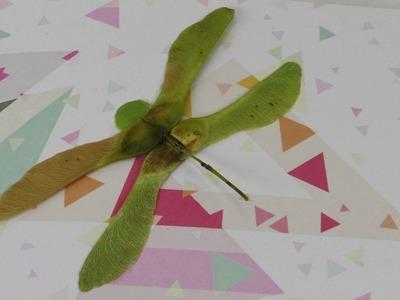 Schöne Karte selber machen |  mit Libelle aus Ahorn | Geburtstagskarte & Dankeskarte | Herbst