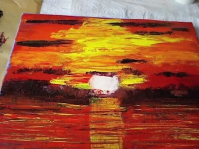 How to Paint a Sunset, Abstract Acrylic, Art, Sunset, Painting with Palette Knife, Acrylmalerei