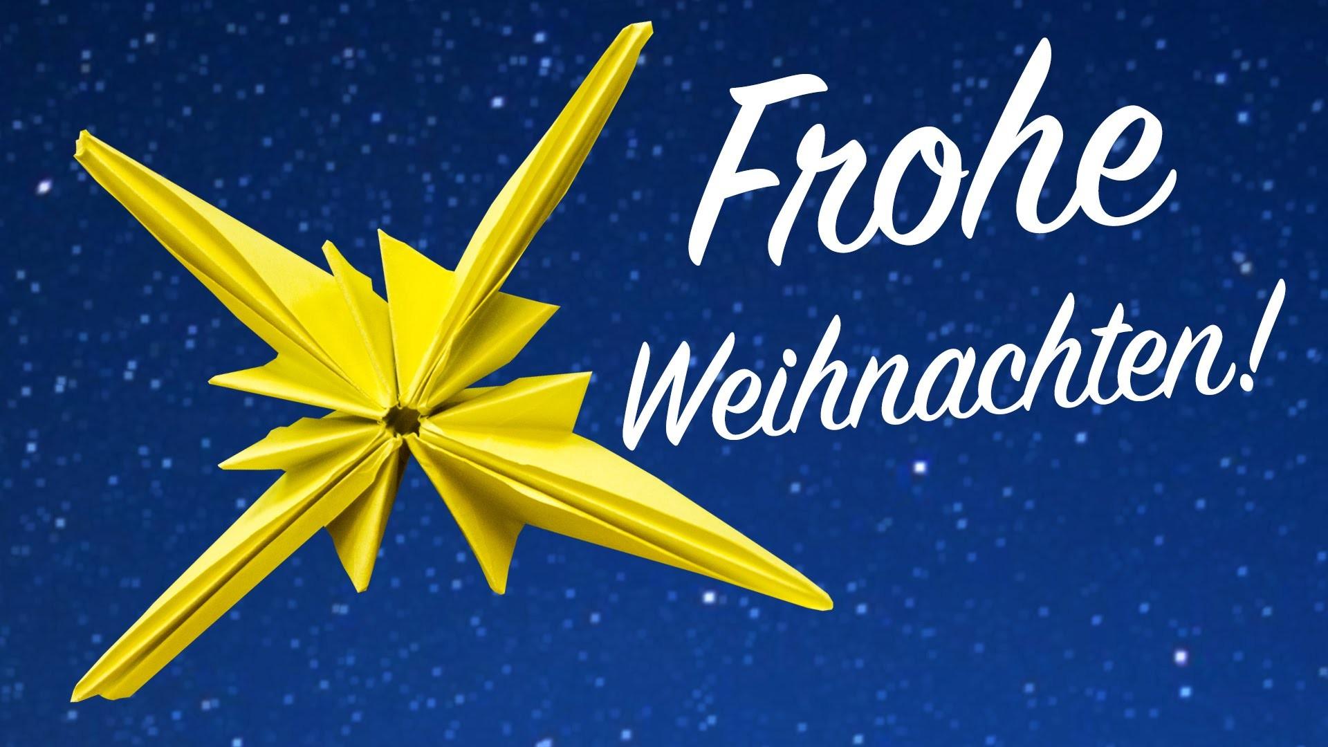 Origami Stern für Weihnachten falten, Dekoration basteln