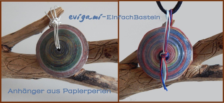 Aufhänger aus Silberdraht und Faden für Anhänger aus Papierperlen