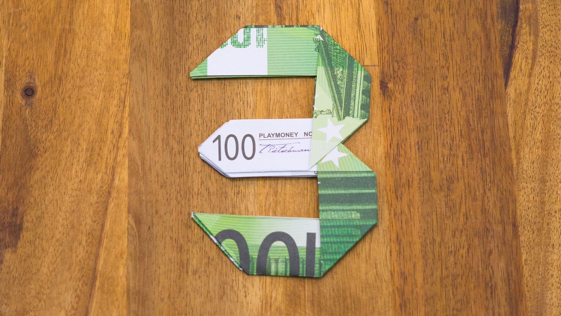 Geldschein falten Zahl 3 - Origami Geldgeschenk Tutorial - Nummer 3.10
