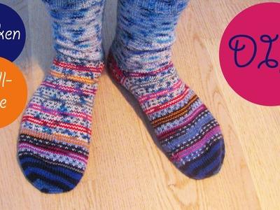 Socken stricken aus Wollresten | eine geniale Technik