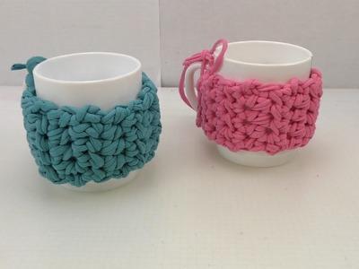 Cup Cozy aus Jersey Garn häkeln | Einfache Anleitung für Tassenmantel | Tee & Kaffeetasse