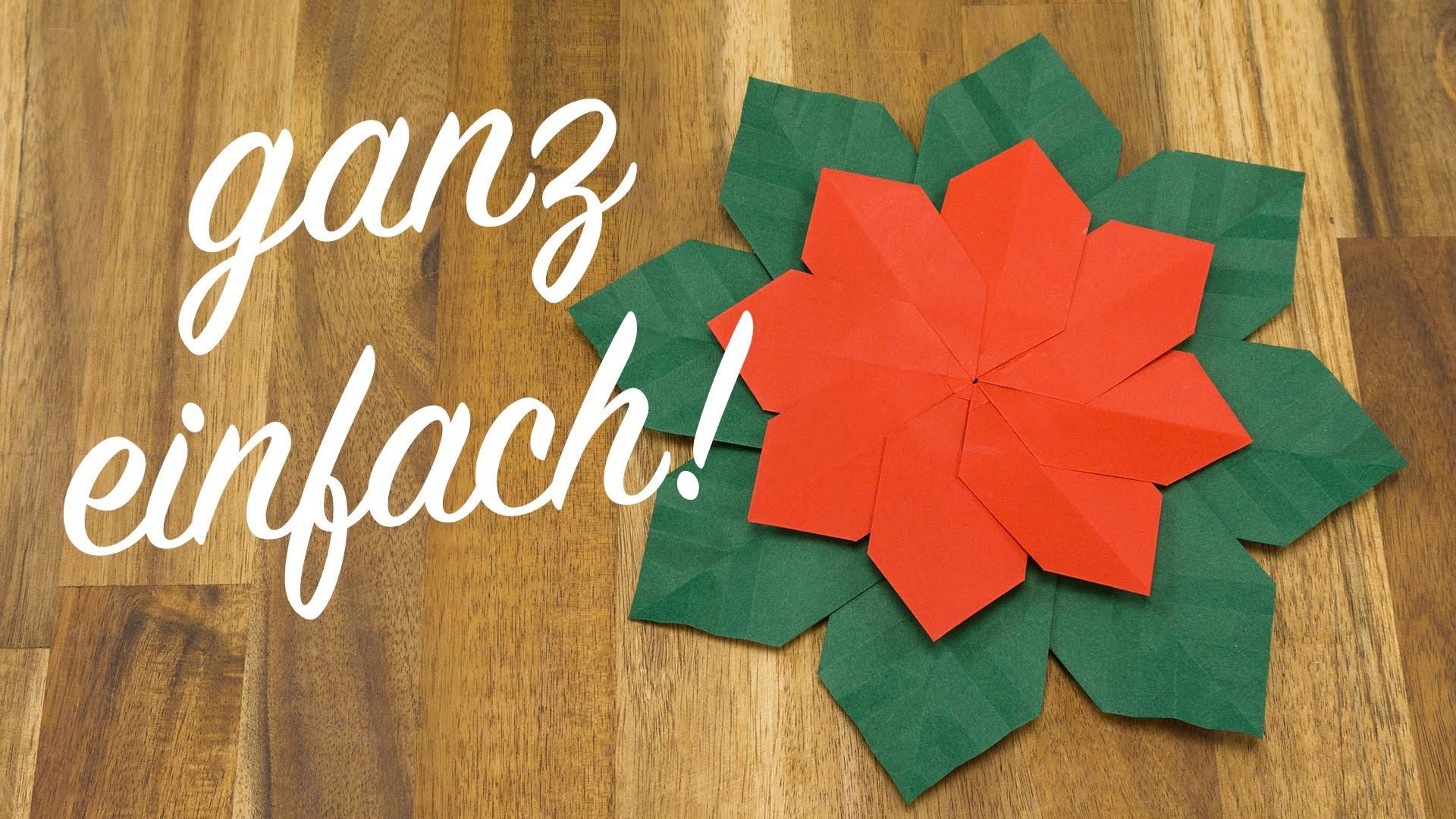 Weihnachtsstern falten, Origami Weihnachtsschmuck basteln